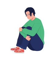Lonely depressed teenager boy semi flat color vector character