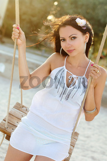 Portrait of playful young brunette