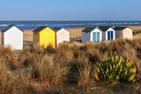 SOUTHWOLD, SUFFOLK, UK - MAY 31 : Colourful Beach huts in Southwold Suffolk on May 31, 2010