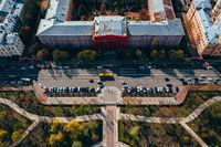 Kiev. Ukraine. April 18 2019. The University of Taras Shevchenko. Aerial view.