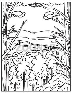 Ouachita Mountain Range or Ouachitas Located in Hot Springs National Park Arkansas United States Mono Line or Monoline Black and White Line Art