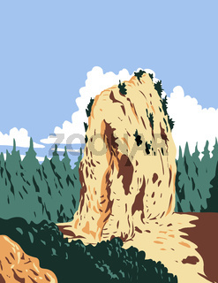 Sugar Loaf Located in Mackinac Island Within Mackinac National Park in Michigan That Existed from 1875 to 1895 WPA Poster Art