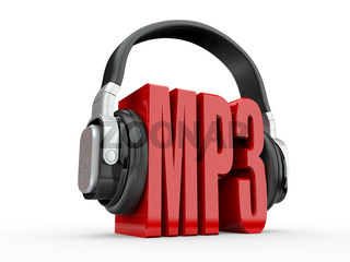 Text MP3 and handphones on white isolated background. 3d