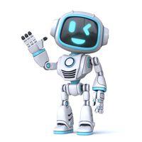 Cute blue robot waving hand 3D