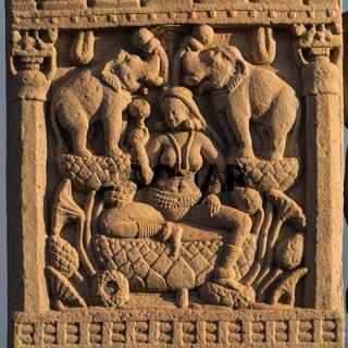 Relief on gateway of Great Stupa at Sanchi. Madhya Pradesh, India