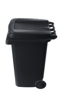 Plastic black trash can isolated on white background