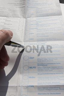 Bundestagswahl: Wahlzettel