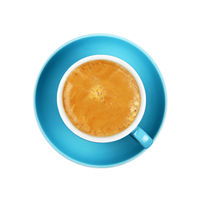 Full espresso coffee in blue cup close up isolated