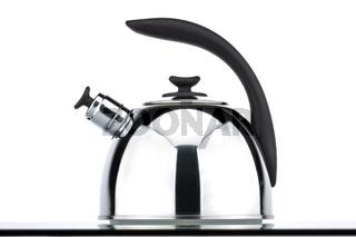 Chrome teapot on a white background