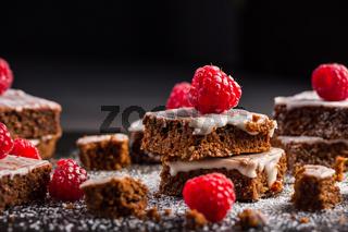 Homemade vegan chocolate brownies with nuts