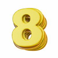 Yellow font Number 8 EIGHT 3D