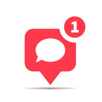 One new comment red icon, social media comment piktogram on white