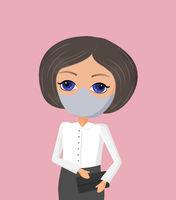 Business woman vector illustration in coronovirus time