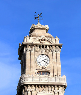 tower with clock in dolmabahce palace - istanbul