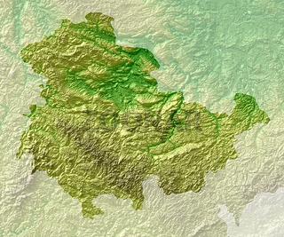 Topografische Relief karte Thüringen