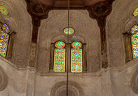 Skylight with perforated stucco arched windows decorated with colorful stain glass, at Qalawun complex, Cairo, Egypt