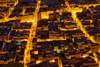View from above to tightened streets of Cullera