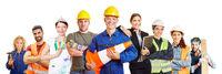 Handwerker und Arbeiter als Bau und Gewerke Konzept