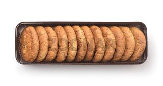 Top view of cookies in packaging tray