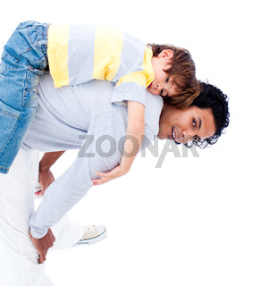 Joyful father and his little boy playing together isolated on a white background