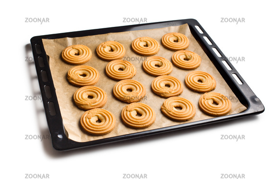 sweet ring biscuit on baking tray