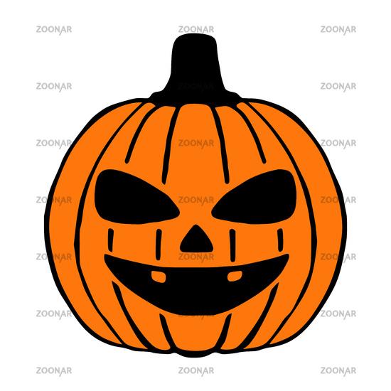 Happy Jack O Lantern hand drawn art, halloween pumpkin isolated