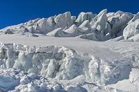 Türme aus Gletschereis, Seracs, auf dem Feegletscher, Saas-Fee, Wallis, Schweiz