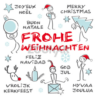 Fröhliche Weihnachten, mehrsprachig, Greeting Card