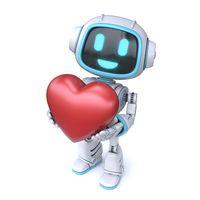 Cute blue robot giving a heart 3D