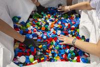 Colourful plastic caps