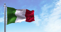 The national flag of Italy flying in the wind