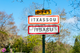 Itxassou village sign in the French Basque Country