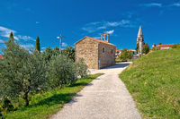 Village of Vrh in Istrian inland church and street view