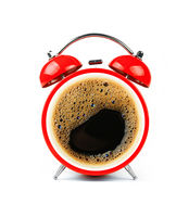 Red alarm clock with coffee cup froth face