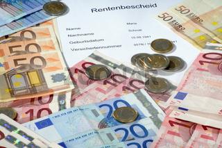 Rentenbescheid - Euronoten und -münzen