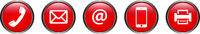Red Contact Buttons Vector Hotline Phone E-Mail Fax Communication vector