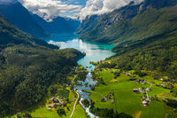 Beautiful Nature Norway natural landscape. lovatnet lake Lodal valley.
