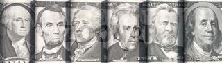 Konterfeis der US-Präsidenten auf Dollarnoten