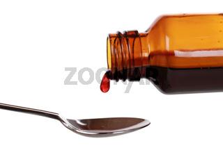 Hustensaft in einer Flasche