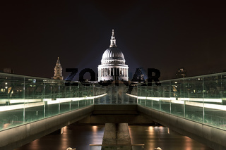 St. Paul`s Cathedral with Millennium Bridge at night