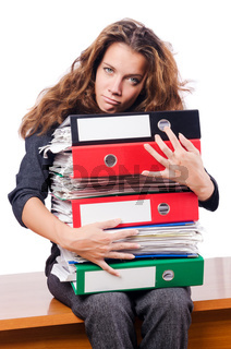 Busy woman at workplace