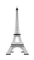 Eiffel Tower silhouette on white background