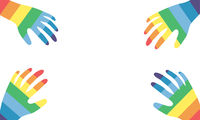 Four hands colored in rainbow colors with copy space in the middle. Template for LGBTQ concept.