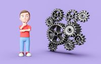 Young 3D Cartoon Character and Metallic Gears on Purple Background