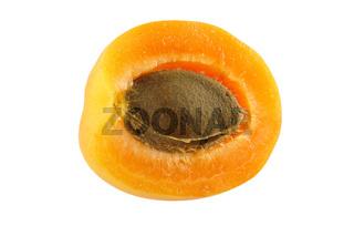 Aprikose im Querschnitt - Steinobst - freigestellt