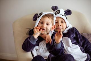 two cute little brothers in kigurumi of panda