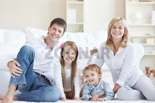 A happy family with children at home