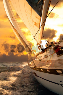 Sailboat crop during the regatta