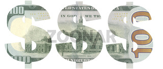 Stencil of the USD symbol on hundred-dollar bill