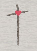 cross with a heart easter symbol